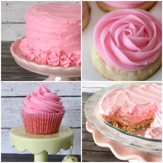 Pink Lemonade Desserts Recipes - cake, frosting, cupcakes, cookies and frozen pie. Perfect for summer parties!