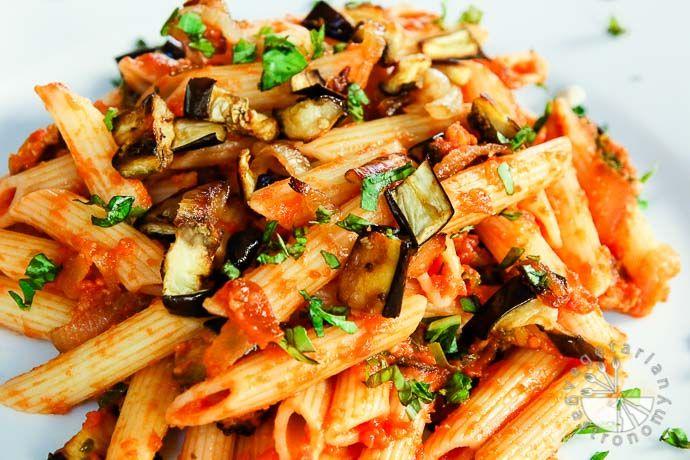 roasted eggplant caramelized onion pasta