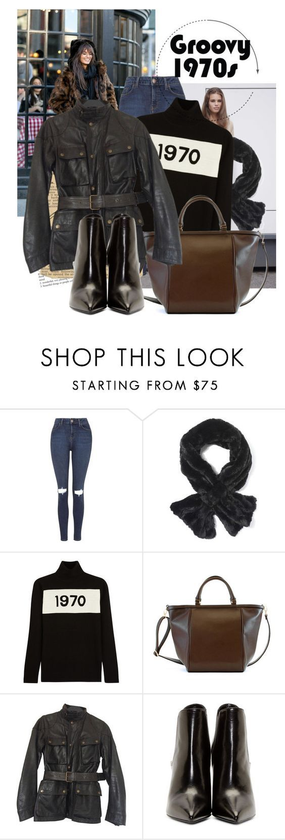 """70's"" by black-eclipse-red-sky ❤ liked on Polyvore featuring Topshop, Bella Freud, Adrienne Landau, Belstaff and Yves Saint Laurent"