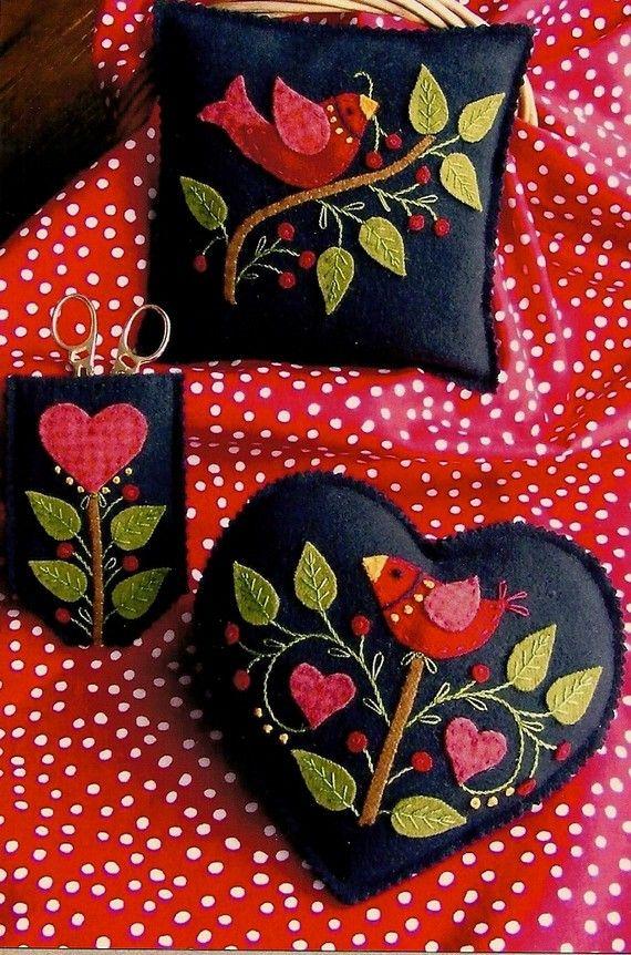 SALE -- Primitive Folk Art Wool Applique Pattern  AMERICAN NEEDLEWORK Set. $6.00, via Etsy.