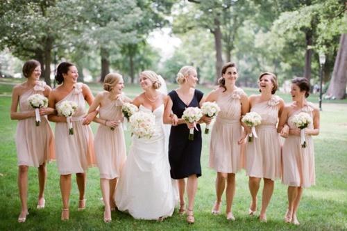 neutral colored bridesmaids