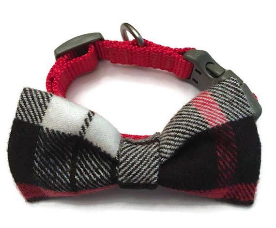 Dog collar bow tie plaid dog bow tie red plaid bow tie