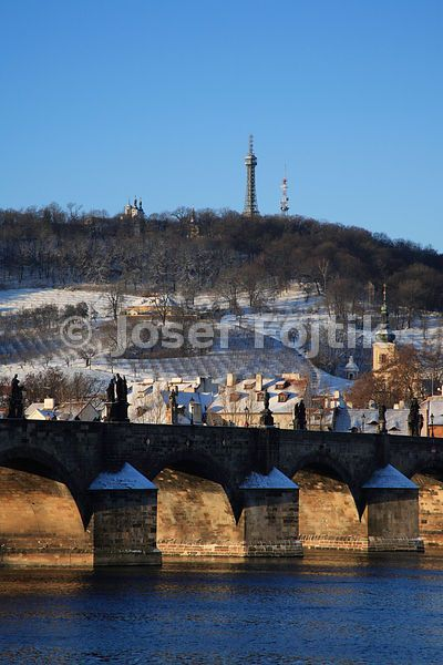 Vltava River, Charles Bridge and Petrin Hill with the Observation Tower in the Background, Prague, Czech Republic
