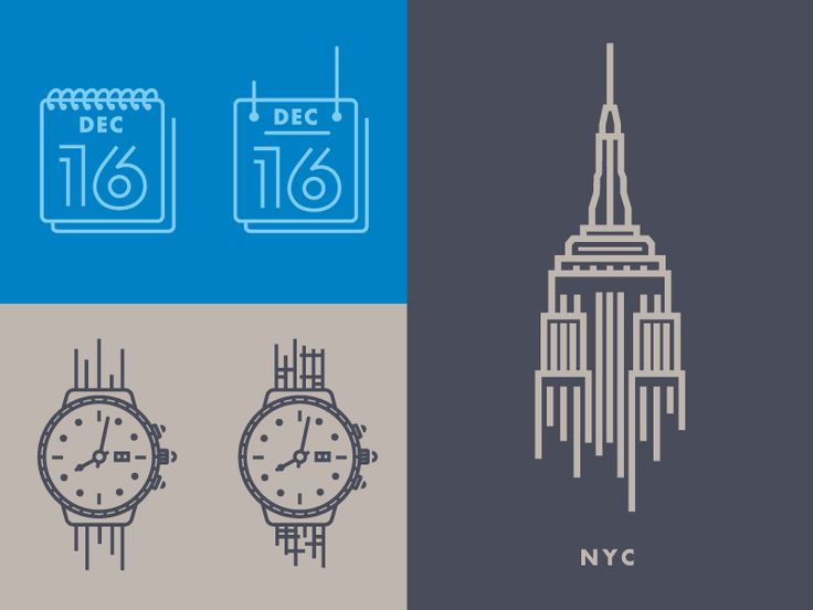 I need to pick a watch and a calendar icon that works best in unison with the Empire State Building illustration. Plz, help a brother out.