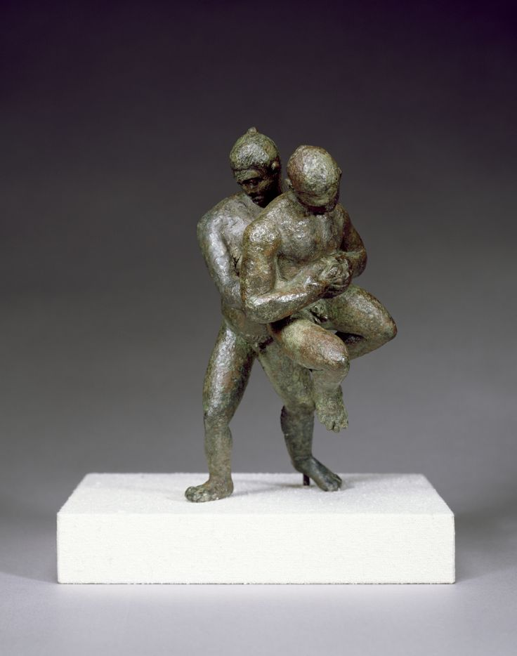 Greek Wrestling     Credit: Photo courtesy Walters Art Museum, through Wikimedia, CC Attribution Share-Alike 3.0 Unported    Flavillianus also excelled at wrestling. Unlike modern-day versions of the sport, the goal wasn't to pin your opponent but simply to throw him onto the ground. Whoever threw their opponent three times first won the contest. Shown here, a solid-cast bronze artifact from the second century B.C.