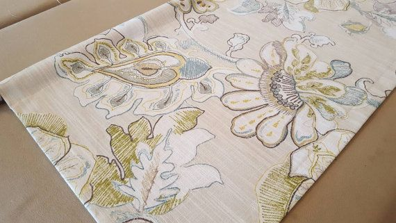 Grey Floral Valance - Richloom Almada Granite Fabric - Colors include brown, gold. turquoise, green, grey and cream.