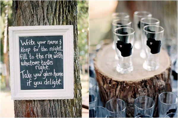 rustic drink sign at wedding reception, chalkboard glasses, unique wedding favor, Rustic Wisconsin Resort Wedding, Emily Steffen Photography