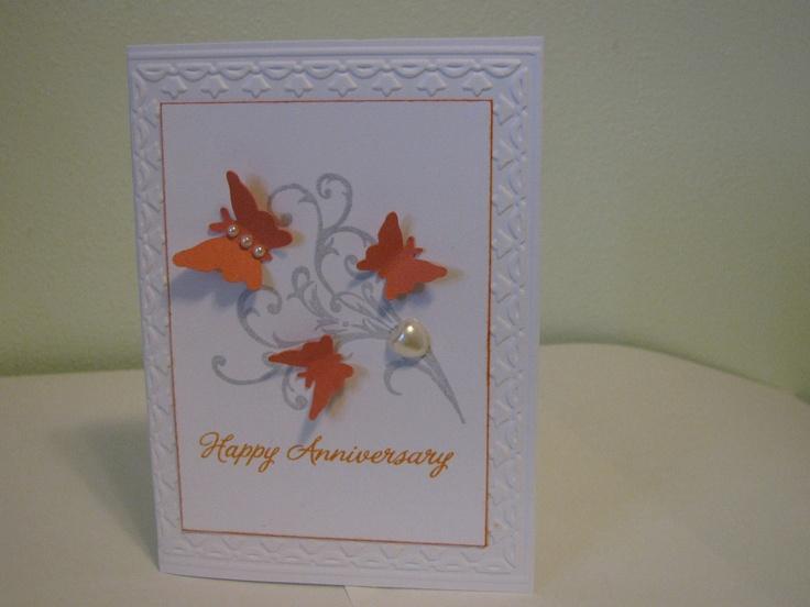Anniversary card using stampin up tulip border embossing