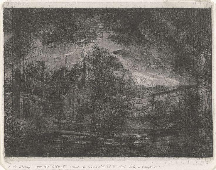 Jacobus Ludovicus Cornet   Landschap bij maanlicht, Jacobus Ludovicus Cornet, 1825 - 1882   Een landschap met een huis aan het water in avondlicht. Op de voorgrond een brugje. Op de achtergrond een molen. De maan verlicht het landschap.