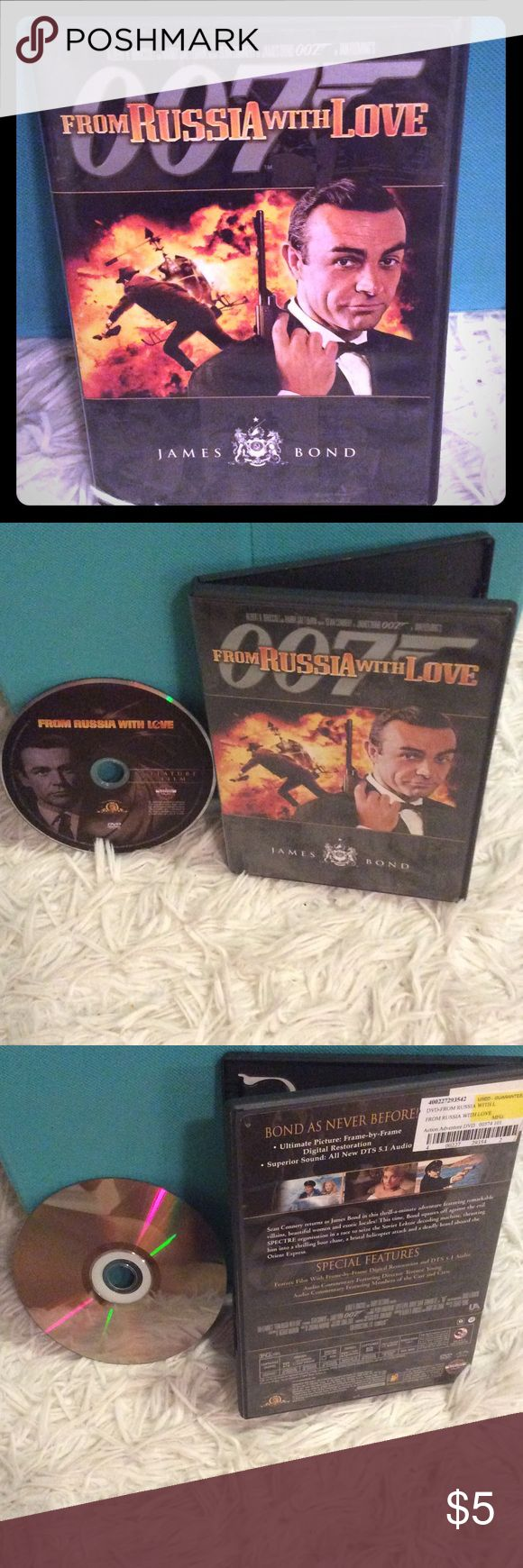 "James Bond ""From Russia With Love"" DVD! Sean Connery portrays the classic British spy icon ""007"", aka ""James Bond"" in another thrilling adventure! DVD is in excellent working condition, and would make a great addition to any Bond movie collection! 007 Other"