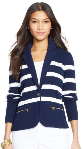 Ralph Lauren Striped Cotton Sweater Blazer
