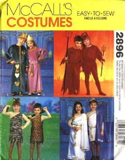 mccalls sewing pattern 2896 easy to sew costumes childrens boys and girls tunic costumes mccalls costume pattern 2895 has identical - Childrens Halloween Costume Patterns