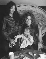Robert Plant, wife, and child