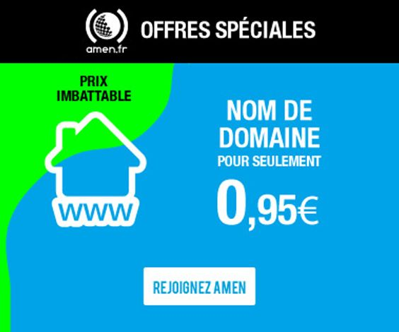 Amen : noms de domaine en promo à 0,95€ (voire moins)
