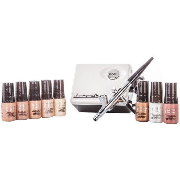 Luminess Air Legend Airbrush Starter Kit, Light 1 kit ($249) ❤ liked on Polyvore featuring beauty products, makeup, dark circles makeup, luminess air makeup, spray makeup, sensitive skin makeup and luminess air