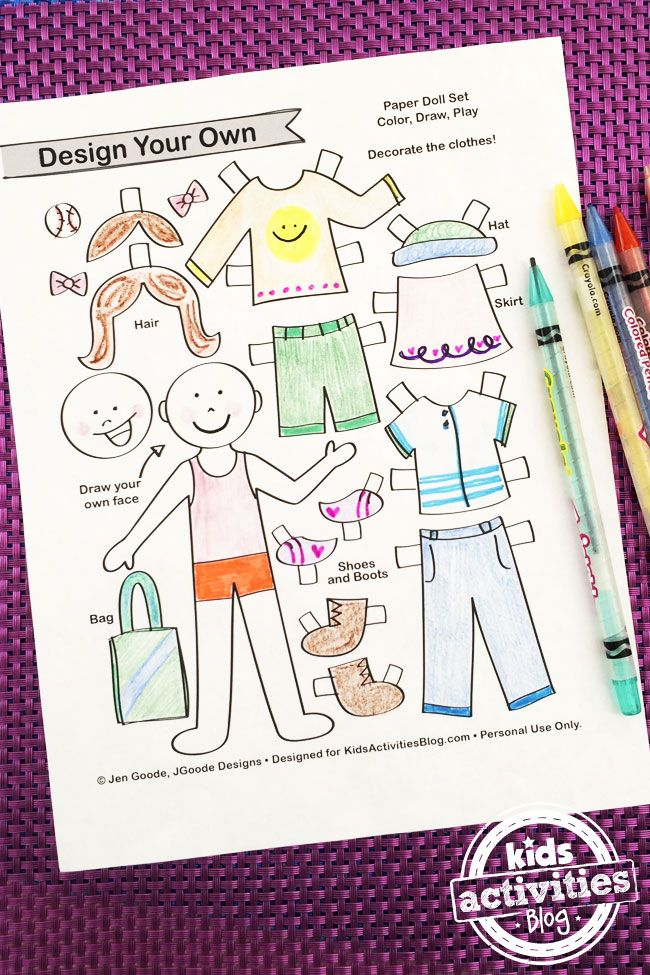 Use this free printable to create and design your own paper dolls. Paper dolls are such an amazing kids activity for learning and play!