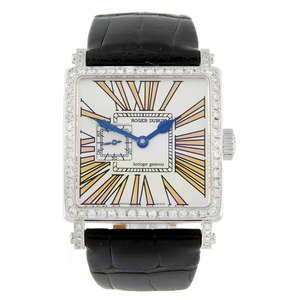 LOT:237 | ROGER DUBUIS - a limited edition 18ct white gold Golden Square wrist watch.