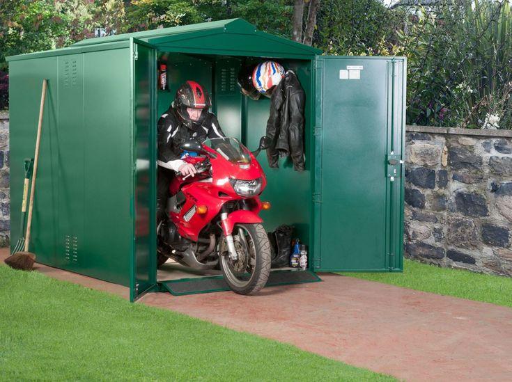 Motorbike Storage Shed UK - The Centurion 5 x 9 ft Motorbike Store regards a substantial heavy-gauge weatherproof steel construction comprising vault-like security to combat break-ins: