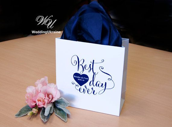 Wedding Gift Bags for guests  Navy blue satin by WeddingUkraine