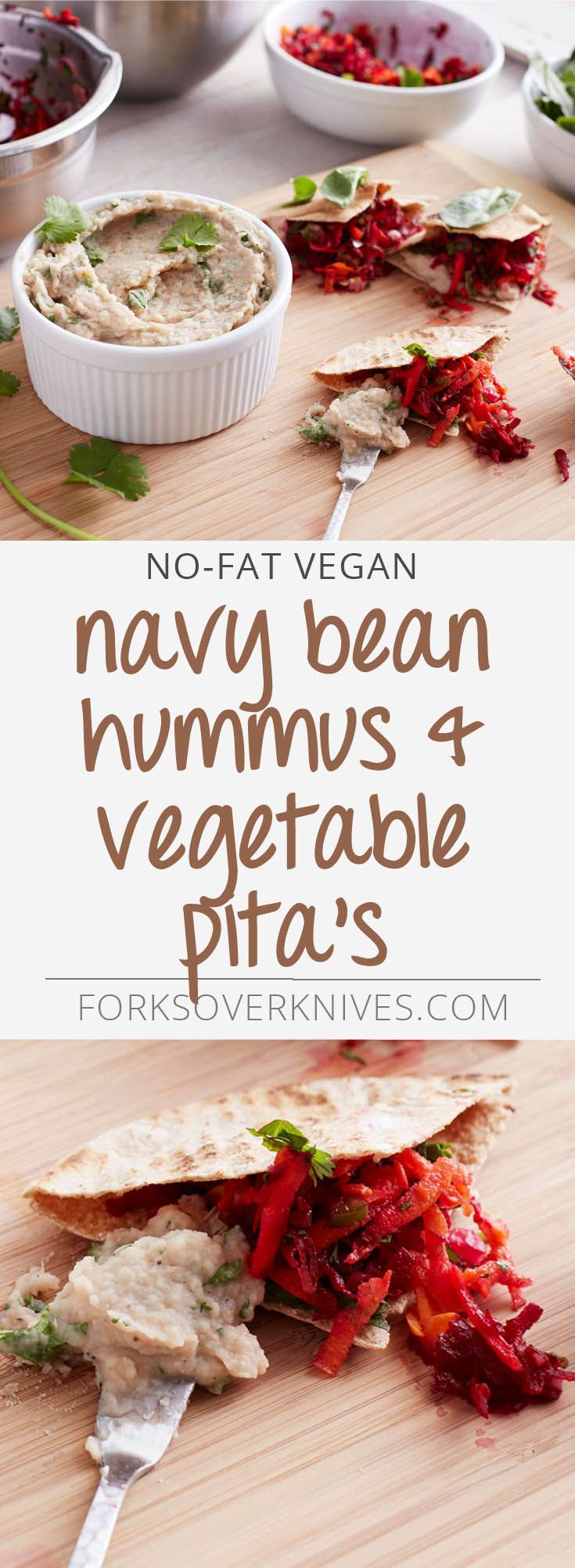 Creamy, garlicky navy bean hummus and crunchy fresh vegetables are tucked into hearty whole-wheat pitas in a perfect marriage of textures, colors, and flavors. From The Forks Over Knives Plan Instructions 1. To prepare the hummus, place the soaked navy...  Read more