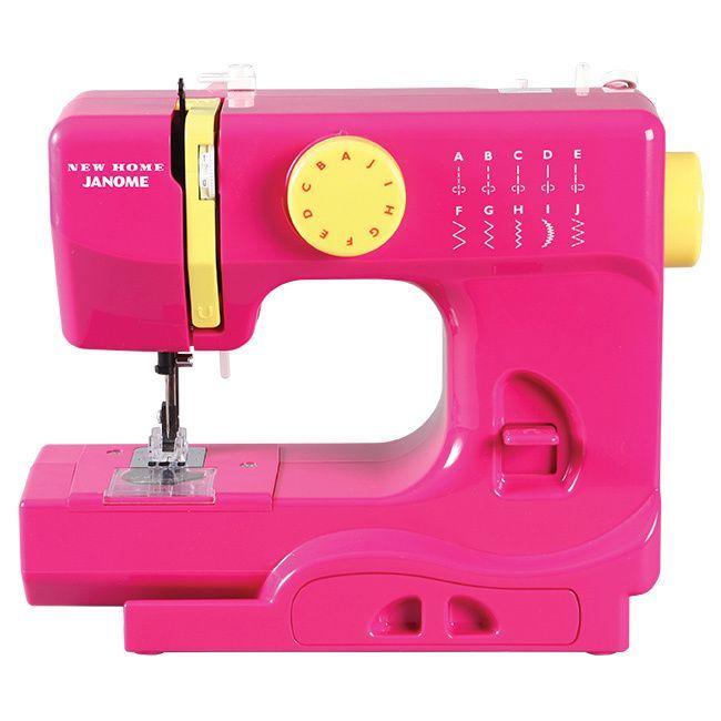 Janome Fastlane Fuschia Basic, Easy-to-Use, 10-stitch Portable, 5 lb Compact Sewing Machine with Free Arm (Fuchsia), Pink (Aluminum)