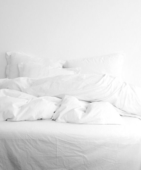 All White: Sheets, shams, coverlet, quilt and throws.