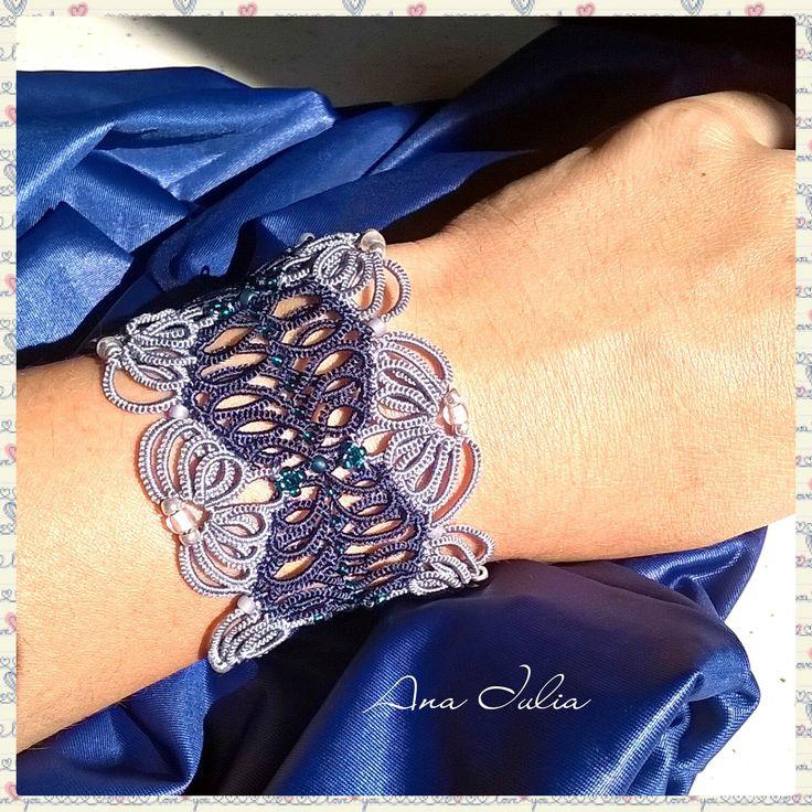 Simona Ankars tatting  cuff bracelet by AnaIuliaTattingLace on Etsy