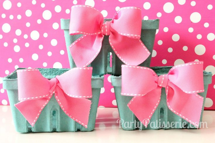 Pink Bow Berry Basket  Berry Baskets  Gifts  Set of 6 Berry Baskets. $10.00, via Etsy.