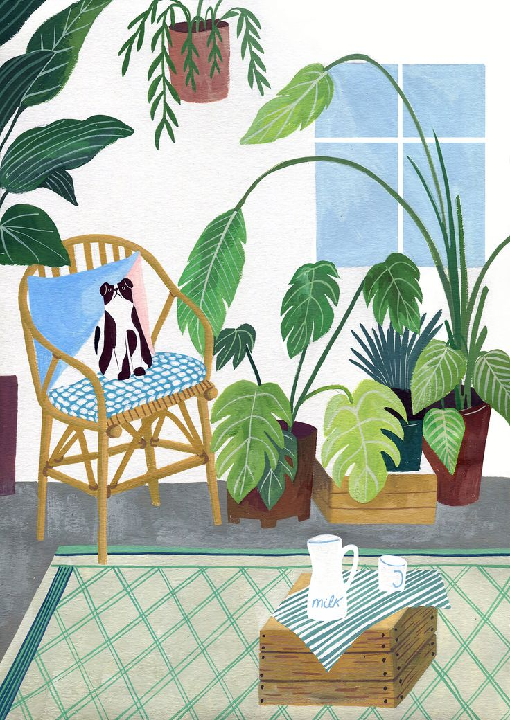 Kitty and plants illustration