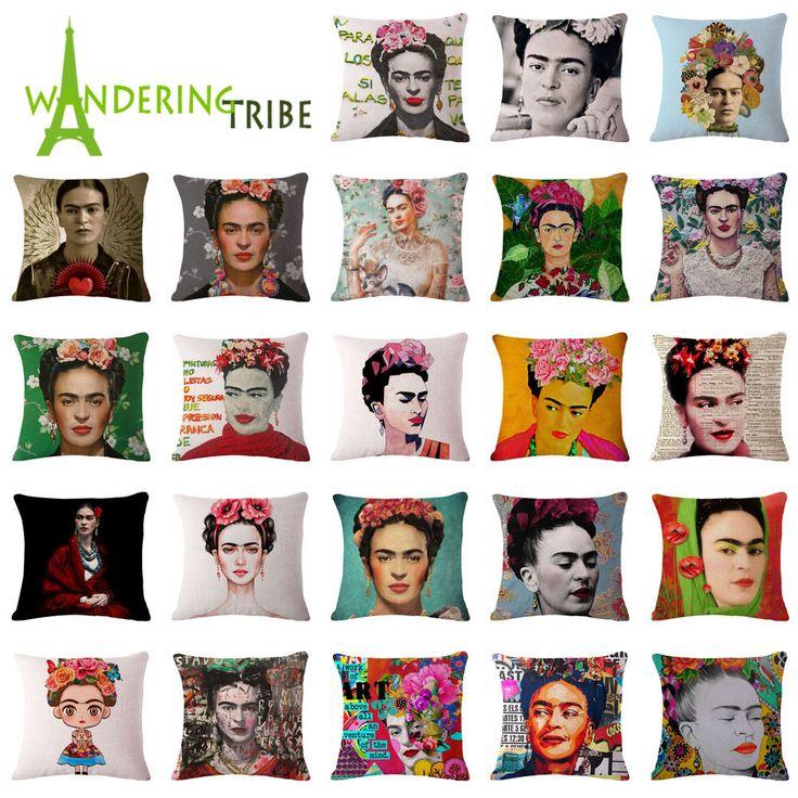 "Günstige Platz 18 ""Kissenbezug Frida Kahlo Bunte Blumen Kissenbezug Woven Kissenbezüge Polyester & Leinen Home Decor Drop Shipping, Kaufe Qualität Kissenbezug direkt vom China-Lieferanten: Platz 18 ""Kissenbezug Frida Kahlo Bunte Blumen Kissenbezug Woven Kissenbezüge Polyester & Leinen Home Decor Drop Shipping"