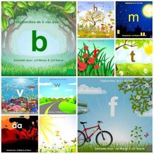 Verschillende digibordklanklessen: aa van aap, b van bos, f van fiets, h van hek, m van maan, r van roos, v van vis, de w van weg en de z van zon.