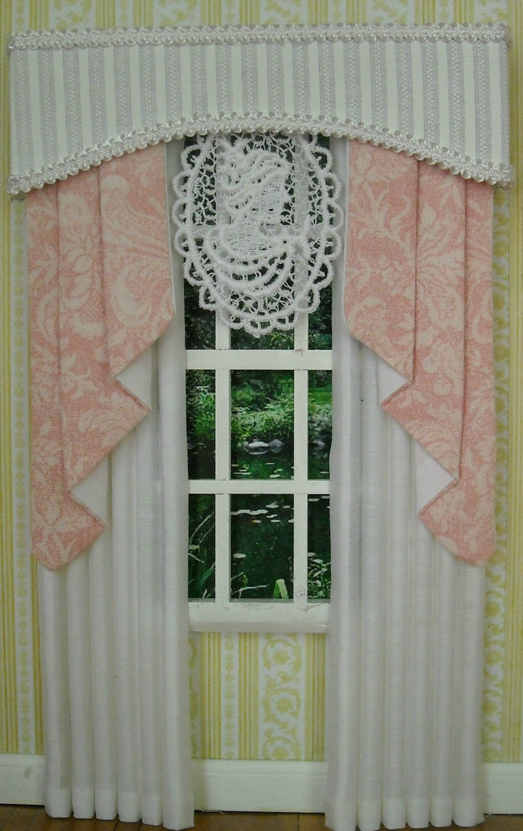 House miniature 1 12 scale bathroom walnut victorian bath tub amp boiler - Dollhouse Miniature 1 12 Scale White And Pink Curtains
