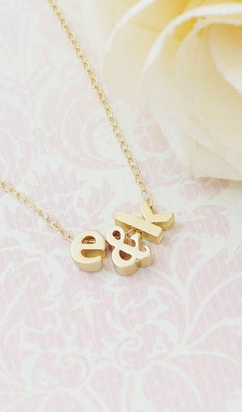 Personalized Initial friendship necklace, couple necklace with gold filled chain from EarringsNation Bridesmaid gifts