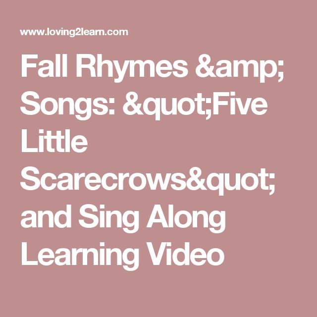 """Fall Rhymes & Songs: """"Five Little Scarecrows"""" and Sing Along Learning Video"""