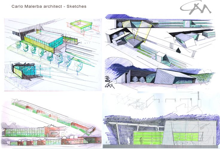 The first concept sketches for start on buildings design