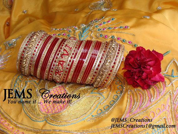 Personalized Chura/wedding bangles bride & groom by JEMSCreations1