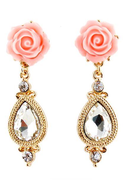 #ROMWE   ROMWE Flower Shaped Dimante Studded Pendant Earrings, The Latest Street Fashion