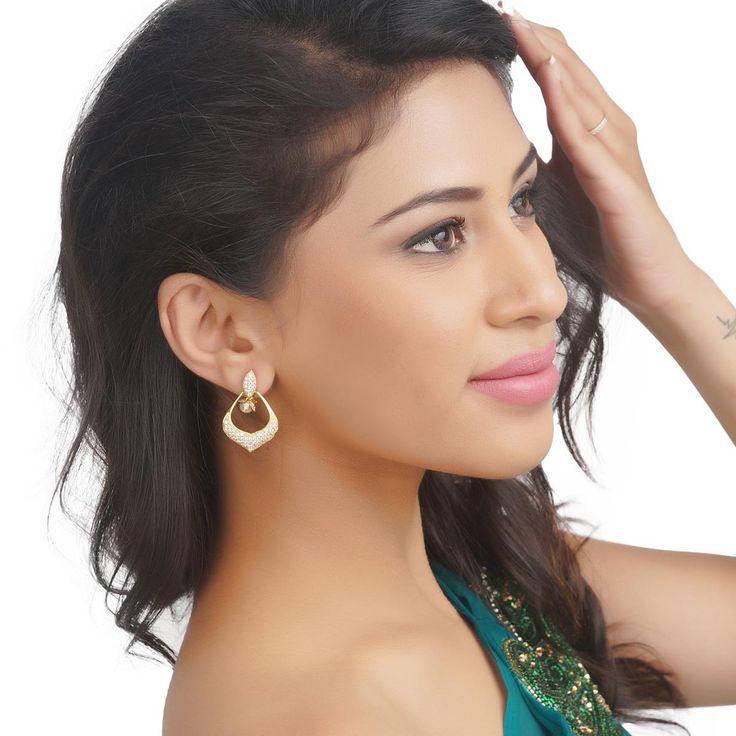 Zircon Earring 57021G #Kushals #Jewellery #Fashion #Indian #Jewellery #Earrings #Designer  #hangings  #modern #unique