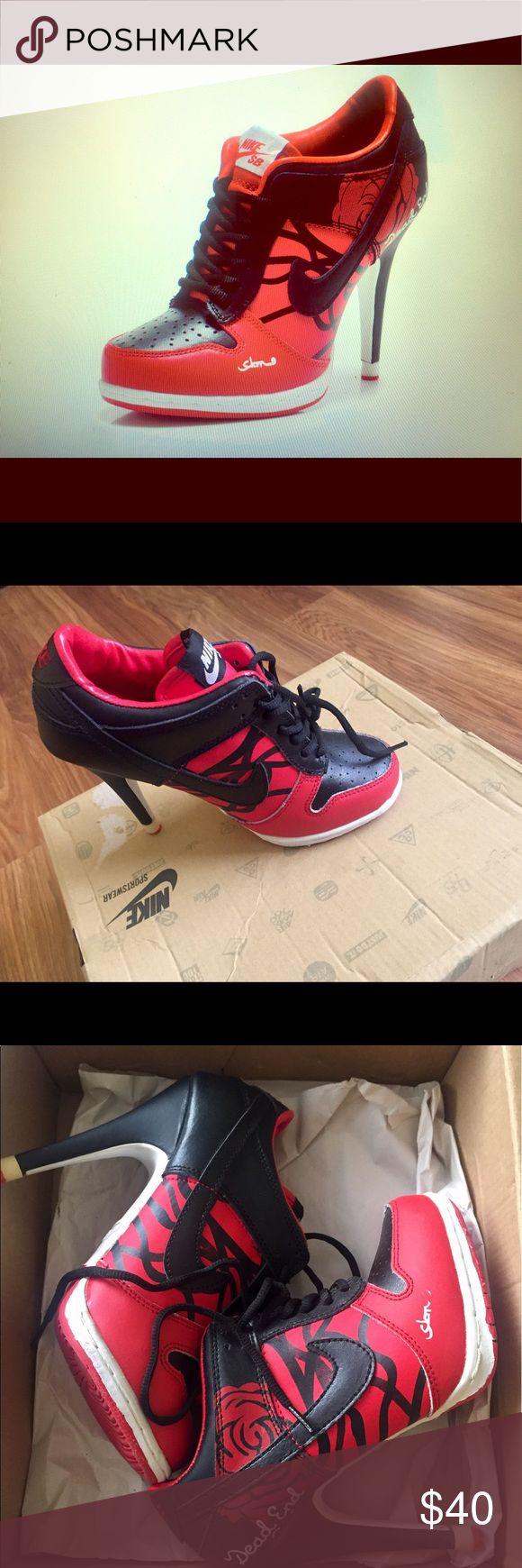 Nike heels Nike high heels  sneakers blank and red ... Nike Shoes Heeled Boots