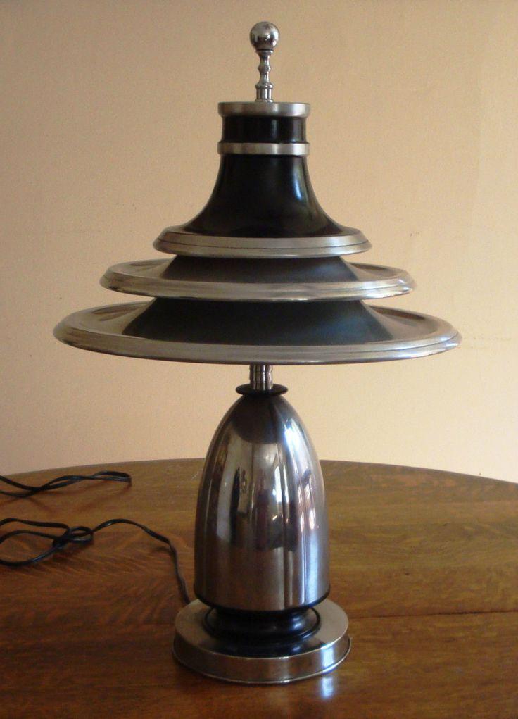 Vintage Iconic 1930s Art Deco Machine Age Moderne Table Lamp Light Edward Kent | eBay