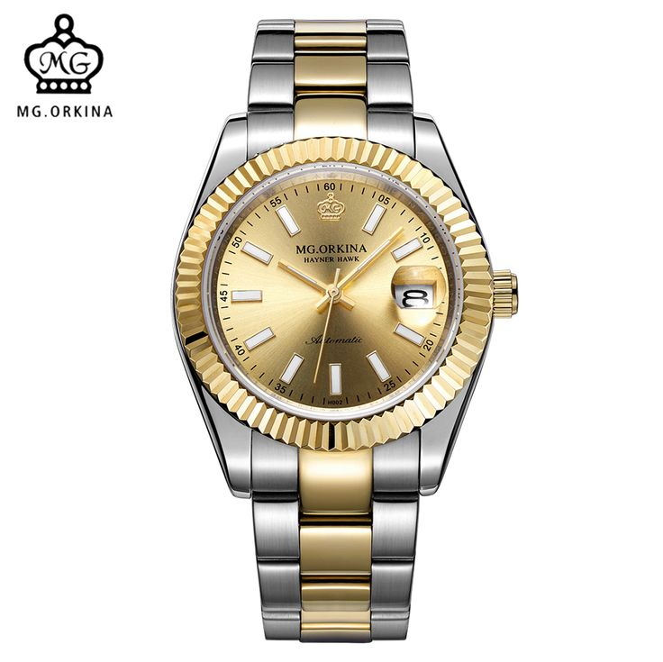 US $75.00 - MG. ORKINA Designer Watches Men Water Resistant Mechanical Male Wristwatches Reloj Hombre Stainless Steel Case Golden Clock