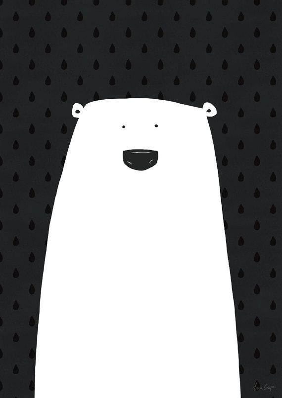 Art print black and white poster polar bear by agrapedesign