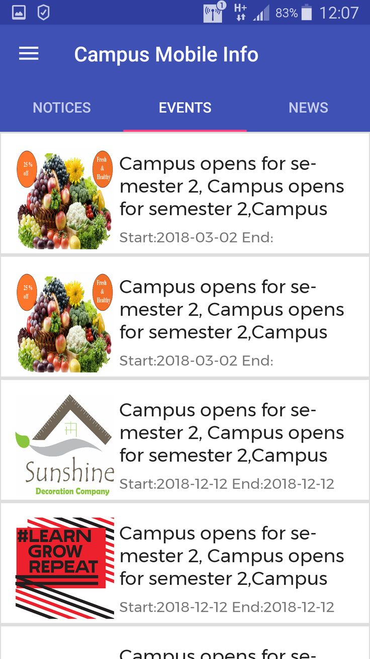 Campus Mobile Info Application with Admin Panel Admin
