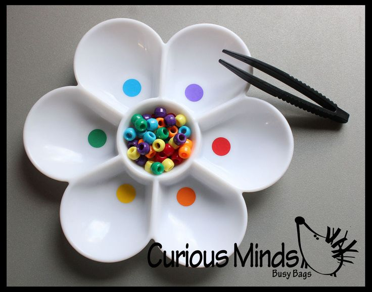 Busy Bags - Color Sorting Flower with Tweezers - Color Sorting Busy Bags for Preschoolers - Fine Motor