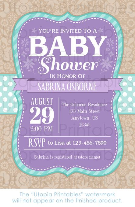 Teal Purple Baby Shower Invitation Country Rustic Cute Floral