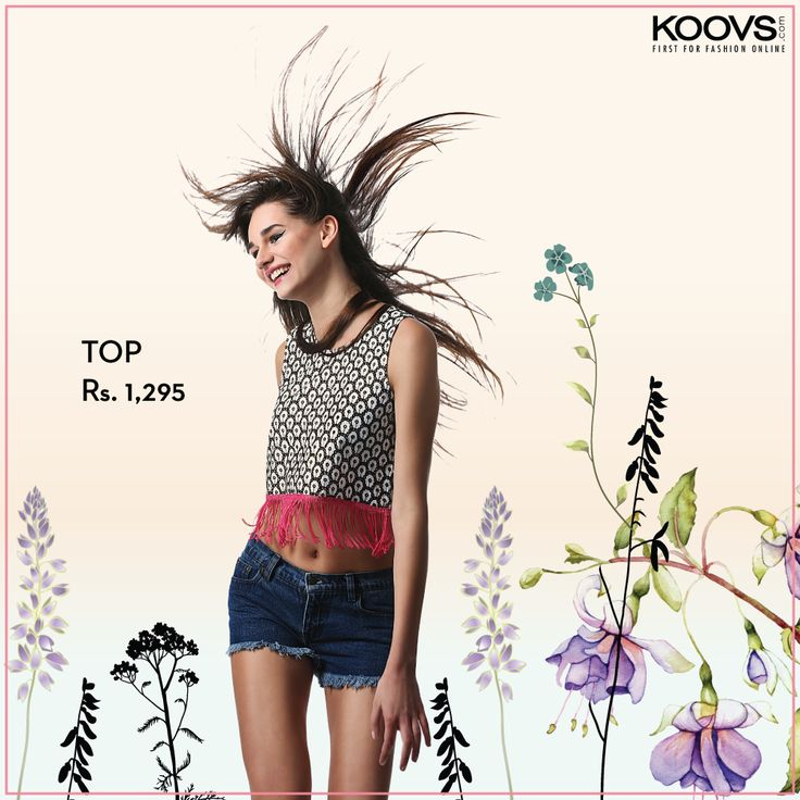 KOOVS Fringed Hem Crop Top