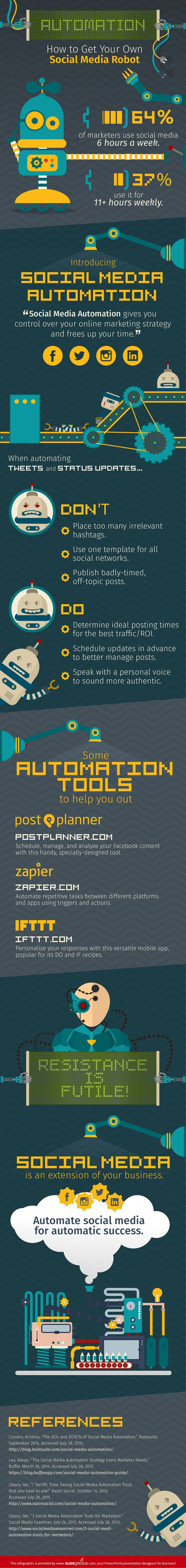 Automation - How to Get Your Own Social Media Robot - infographic