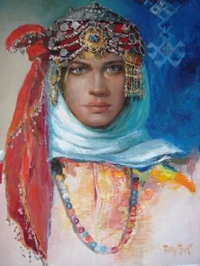 Remzi Iren -.Turkish Painter Anatolia headband..Urfa gelini Remzi İrem