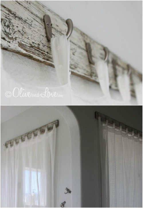 Reclaimed Wood Curtain Rod ~ I personally like this one :D