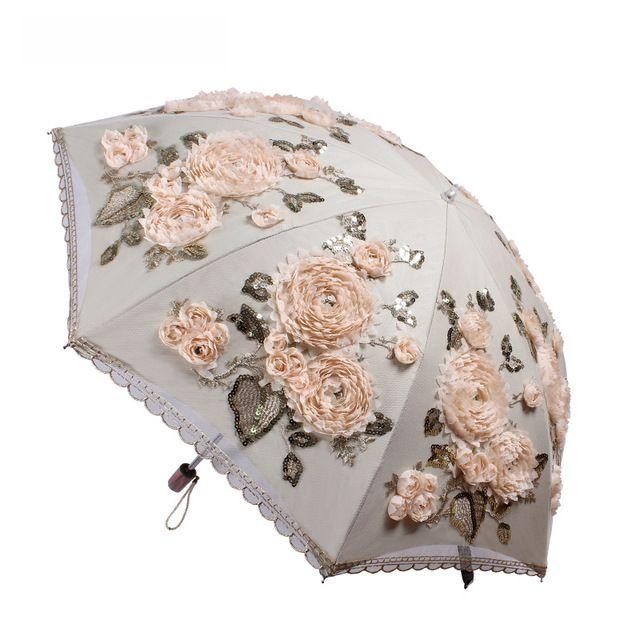2017 Nuovo 1 PZ Ultralight 285g Dual-pieghevole Delle Donne Del Merletto Ombrello Nero Rivestimento Anti-Uv Multifunzione Soleggiato/Rainy ombrello
